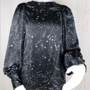 Zara Woman Sz L Astrology Zodiac Stars Shirt Top
